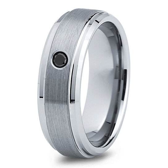 Buy Tungsten Wedding Band 7mm Mens Wedding Bands Black Diamond Band Mans Mens