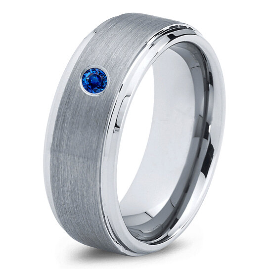 Buy Tungsten Wedding Band 8mm Mens Wedding Bands Blue