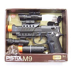 COMBAT MISSION TATICAL M-9 PISTOL moving barrel and sound toy military toys gun