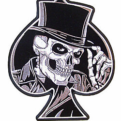 HUGE SKELETON TOP HAT SPADE PATCH JBP40 NEW biker skull novelty iron on heat sew