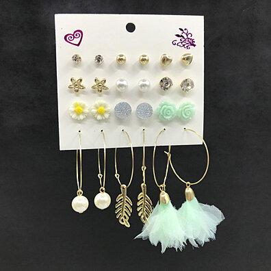 b05550149 12Pairs Women Flower Star Heart Ball Ear Studs Hoop Earrings Cute Date  Jewelry