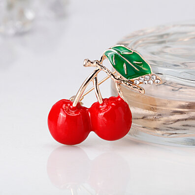 6a91723c7 Cute Enamel Cherry Style Rhinestone Women Brooch Pin Scarf Fashion Jewelry  Gift