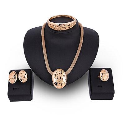 Fashion Oval Shape Stud Earrings Necklace Bangle Bracelet Women Jewelry Set