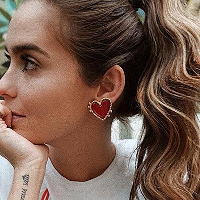 09656bc53 Fashion Women Love Heart Enamel Ear Stud Earrings Banquet Jewelry Gift Decor