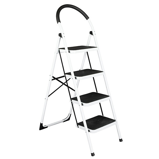 Outstanding Folding Stool Heavy Duty Industrial Lightweight 4 Step Iron Ladder Black Creativecarmelina Interior Chair Design Creativecarmelinacom