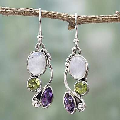 d5bd85392 Vintage Marquise Round Faux Moonstone Emerald Amethyst Dangle Hook Earrings