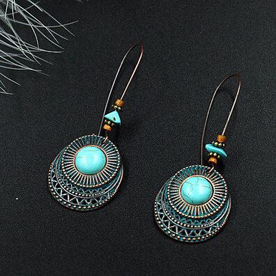 454372422 Vintage Women Turquoise Round Dangle Drop Earrings Long Hook Eardrops  Jewelry