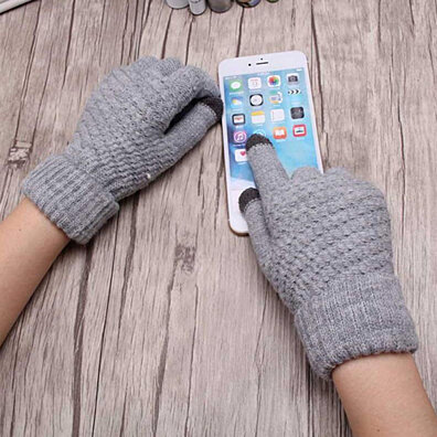 fe3737838 Warm Full Finger Knitted Gloves Women Touch Screen Mittens Winter  Accessories