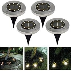 4Pcs Waterproof LED Solar Underground Lights Stainless Steel Outdoor Solar Buried Floor Light Outdoor Garden Path Ground Lamp