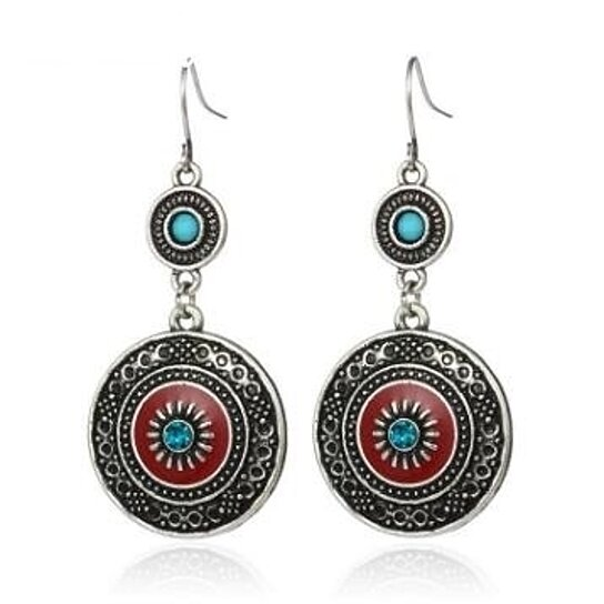 Ethnic Style Brincos Bohemian Antique Silver Plated Red Enamel Rhinestone  Acrylic Flower Drop Earrings For Women HotSale