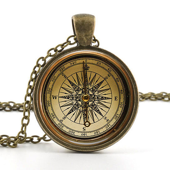 Weight Lifting Equipment In Honolulu: Buy Antiqued Compass Glass Photo Pendant Silver Necklace