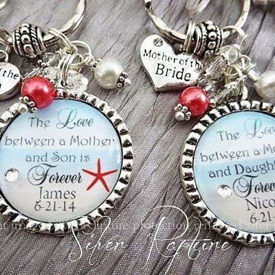 6eb0b0979 Buy Coral Beach Wedding Mother of the Groom Bride Necklace Personalized  Keychain by ChicBridalBoutique on OpenSky