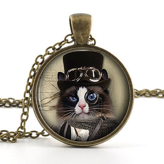 Buy steampunk top hat cat glass photo pendant silver for Cat in the hat jewelry