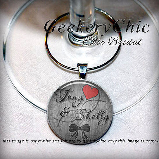 Personalized Wedding Wine Glass Charms : Buy Personalized Bridal Wine Glass Wedding Charm Favors SET OF 10 ...