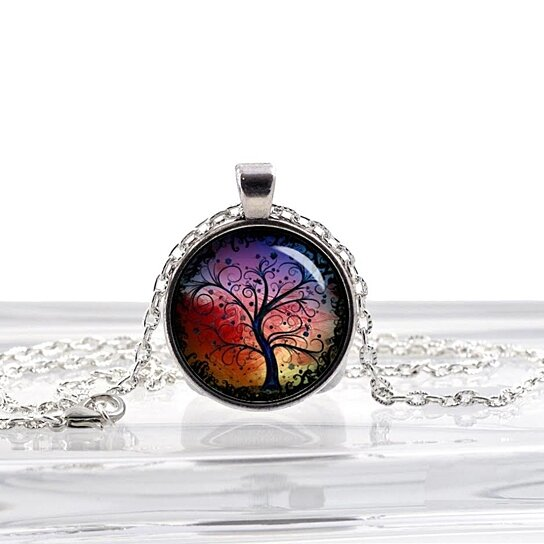 Buy Tree Of Life Red And Blue Beautiful Glass Photo