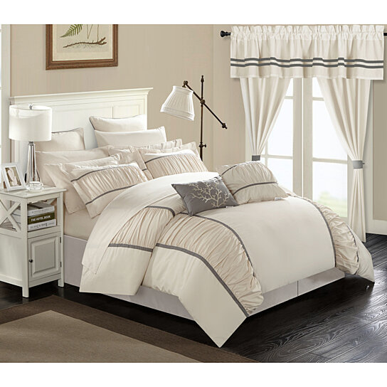 24 Piece Marian Complete bedroom in a bag Pinch Pleat Ruffled Designer  Embellished Bed In a Bag Comforter Set