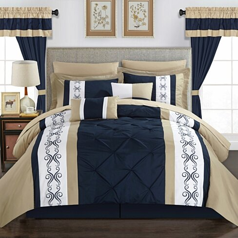 Adara 20 Piece Comforter Set Color Block Pinch Pleat Pintuck Design