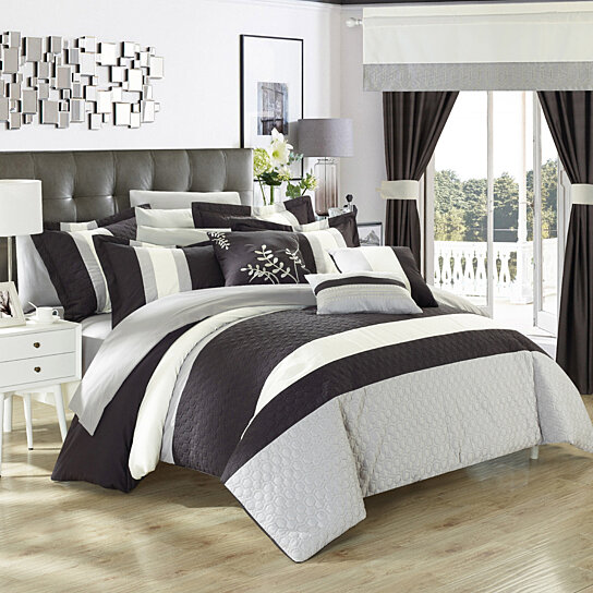 piece placido complete bedroom set with octagon embroidery color block