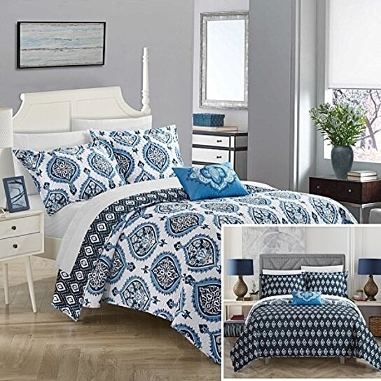White Color ALL FOR YOU 3-Piece Reversible Embroidered 100/% Cotton Quilt Set