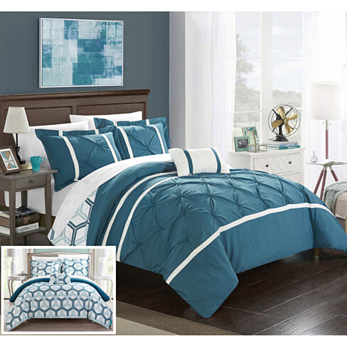 Chic Home 3/4 Piece Eula Pinch Pleated Ruffled and Reversible Geometric Design Printed Comforter Set