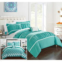 Chic Home 3/4 Piece Lucia Pleated & Ruffled with Chevron REVERSIBLE Backing Comforter Set Shams and Decorative Pillows included