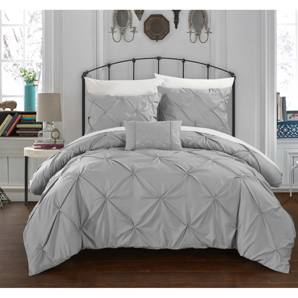 Chic Home 3/4 Piece Whitley Pinch Pleated, ruffled and pleated complete Duvet Cover Set Shams and Decorative Pillows included - King, Silver 58b59e97c915e40c79700d26