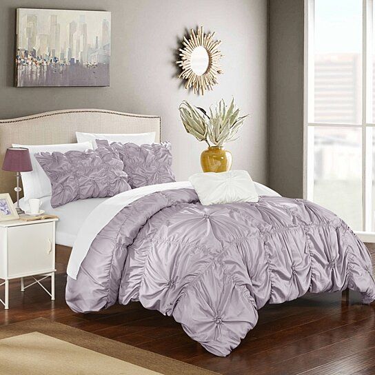 Buy Chic Home 4 Piece Zach Floral Pinch Pleat Ruffled