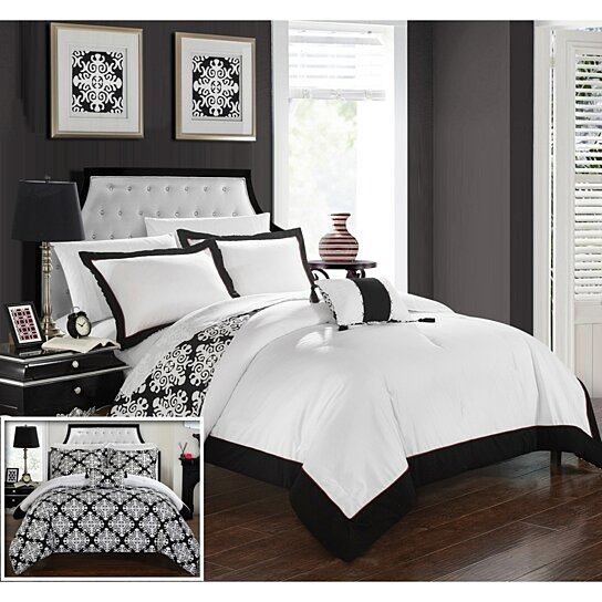Buy Chic Home 8 Piece Mallow Black And White REVERSIBLE
