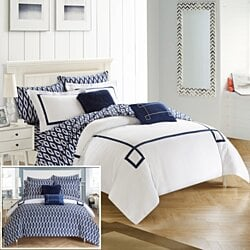Chic Home 7/9 Piece Dawson Contemporary Greek Key Embroidered REVERSIBLE Bed In a Bag Comforter Set With sheet set