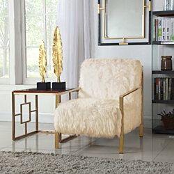 Chic Home Bayla Accent Side Chair Sleek Stylish Faux Fur Brushed Nickel Finished Stainless Steel Frame