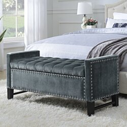 Chic Home Marcus Neo Traditional Velvet Tufted Storage Bench