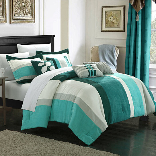 Buy Chic Home Melodie 7-Piece Plush Microsuede Striped