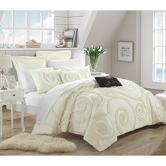 Buy Chic Home Rosalinda 7 Piece Ruffled Etched Embroidery Comforter