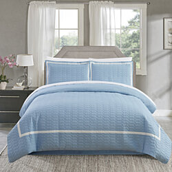 Dawn 2 Piece Duvet Cover Set Hotel Collection Two Tone Banded Print Zipper Closure
