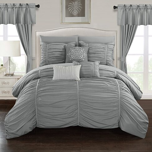 Gruyeres 20 Piece Comforter Set Ruffled Ruched Designer Bedding