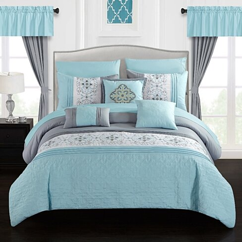 Jurgen 20 Piece Comforter Set Color Block Floral Embroidered Bed in a Bag Bedding