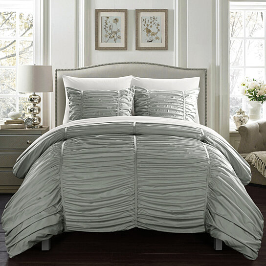 Kleia 7 Or 5 Piece Comforter Set Contemporary Striped Ruched Ruffled Design Bed In A Bag