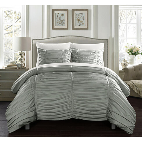 Kiela 2 Pc or 3 Pc Ruched Comforter Set