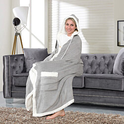 Nava Snuggle Hoodie Robe Cozy Super Soft Ultra Plush Micromink Sherpa Lined Wearable Blanket