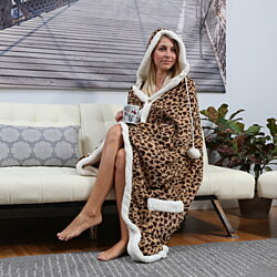 Sherpa-Lined Animal Print Hooded Robe