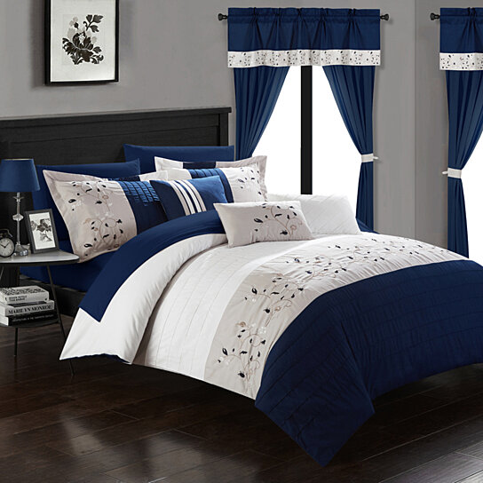 Sonita 20-Piece Bedding Set With Comforter, Sheets & Curtains, Mult. Colors