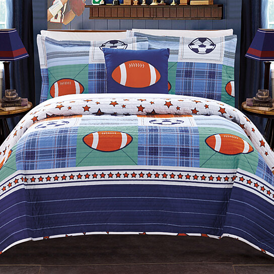 Buy Sport 4 Or 3 Piece Reversible Quilt Set Youth Design Coverlet Bedding By Lux Bed Llc On Dot Bo