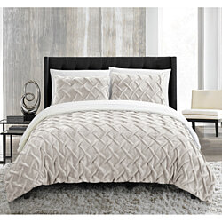 Thirsa 3 or 2 Piece Comforter Set Ultra Plush Micro Mink Criss Cross Pinch Pleat Sherpa Lined Bedding