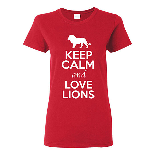 Buy ladies keep calm and love lions animal lover t shirt for Bc lions t shirts