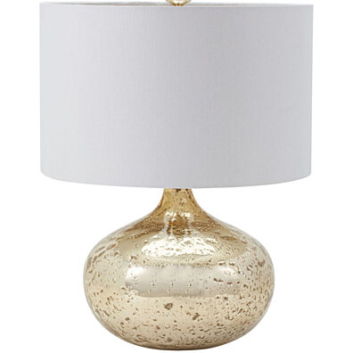 Dimond Lighting Antique Mercury Glass Table Lamp in Gold - White Shade