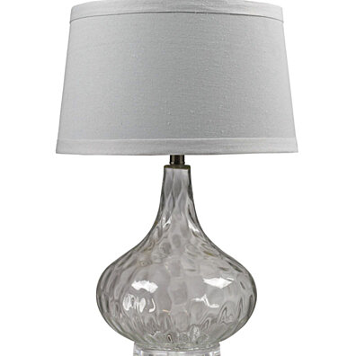 Dimond Lighting Clear Water Glass Table Lamp With White Linen Shade