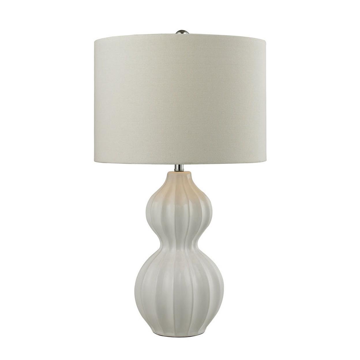 Dimond Lighting Ribbed Gourd LED Table Lamp in Gloss White Ceramic 58de20ad2a00e47e7416cb09