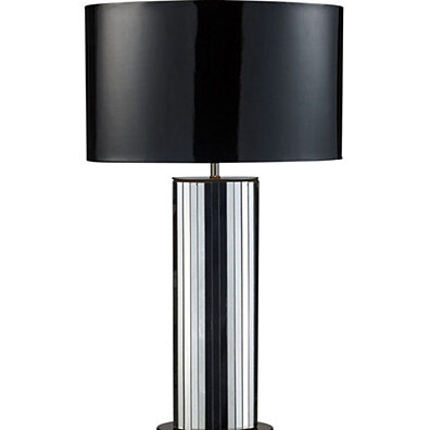 Dimond Lighting Shreve Table Lamp In Mirror And Black Nickel With Oval Black Patent Faux Leather Shade And Silver Fabric Liner
