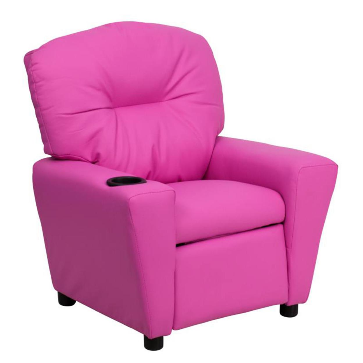 Flash Furniture Contemporary Hot Pink Vinyl Kids Recliner with Cup Holder [863-Bt-7950-Kid-Hot-Pink-Gg] 59e4600de2246142ce45d026
