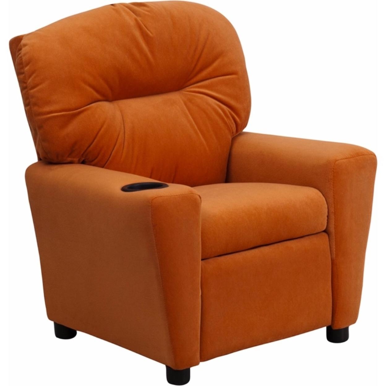 Flash Furniture Contemporary Orange Microfiber Kids Recliner with Cup Holder [863-Bt-7950-Kid-Mic-Org-Gg] 59e46011e224613cc069199f